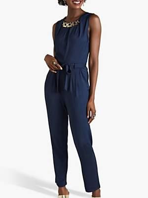 Yumi Chain Neck Trim Jersey Jumpsuit, Navy