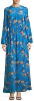Diane von Furstenberg Long-Sleeve Crewneck Floor-length Silk Dress