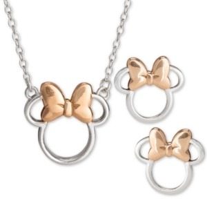 """Disney Children's 2-Pc. Set Minnie Mouse 18"""" Pendant Necklace & Stud Earrings Set in Sterling Silver & 18k Rose Gold-Plate"""