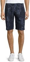 Etro Paisley Linen Shorts, Navy