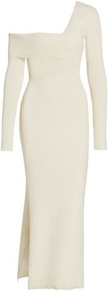 Proenza Schouler One-Shoulder Cutout Long-Sleeve Maxi Knit Dress