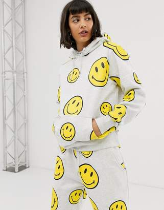 Chinatown Market oversized hoodie with all over smiley print-Grey