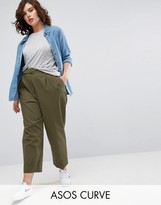 Asos Tapered High Waist Chino Trousers With Belt