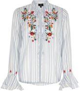 River Island Womens Blue stripe embroidered frill pyjama top