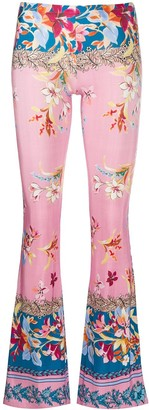 Black Coral Floral Flared Trousers