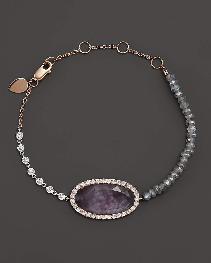 Meira T 14K Rose Gold Rough Amethyst Beaded Bracelet with Diamonds