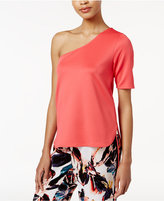Bar III One-Shoulder Scuba Top, Created for Macy's