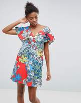 Asos Structured Ruffle Shift Dress in Floral and Tile Print