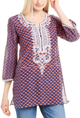 Sulu Collection Tulum Silk-Embroidered Tunic