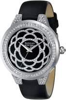 Badgley Mischka Women's BA/1331BKBK Swarovski Crystal Accented Silver-Tone Black Leather Strap Watch