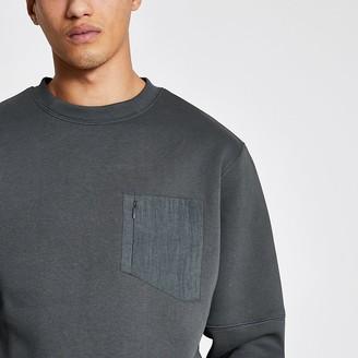 River Island Pastel Tech grey nylon pocket sweatshirt