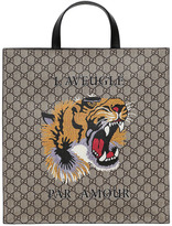 Gucci Tiger Printed Gg Supple Tote Bag