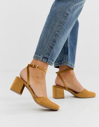 Asos Design DESIGN Salvation square toe block heeled mid shoes in rust velvet-Beige