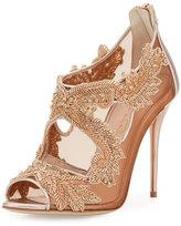 Oscar de la Renta Ambria Beaded Lace 100mm Sandal, Pink