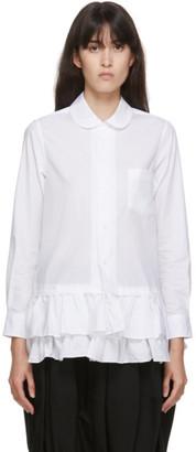 COMME DES GARÇONS GIRL White Ruffle Hem Shirt Dress