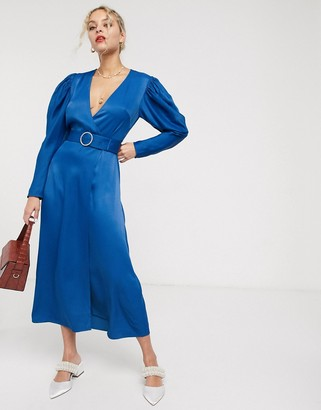 And other stories & diamante buckle puff sleeve midi dress in deep blue