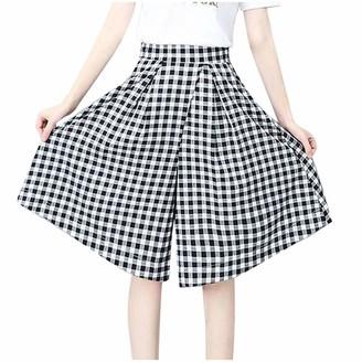 jieGorge Pants for Women Fashion Women Plaid Casual High Waist Ladies Loose Knee Length Wide Leg Pants