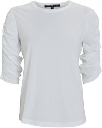 Veronica Beard Waldorf Ruched Cotton T-Shirt