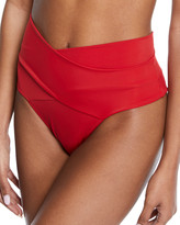Oye Swimwear Lucette Wrap-Front High-Waist Bikini Swim Bottoms