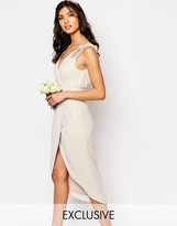 TFNC WEDDING Wrap Embellished Midi Dress