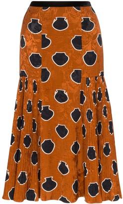 Johanna Ortiz Tribal High Waisted Pleated Midi Skirt