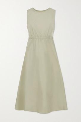 Frankie Shop Erica Cutout Cotton And Linen-blend Poplin Midi Dress - Sage green