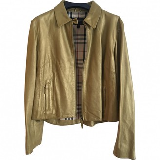 Burberry Gold Leather Jackets