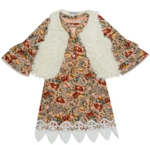 Rare Editions Toddler Girl Printed Yummy Dress With Fur Vest