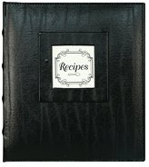 "Gibson C.R. Pocket Page Recipe Book Measuring 9"" x 9.5"" with Recipe Cards Measuring 4"" x 6"" - Black Leather"
