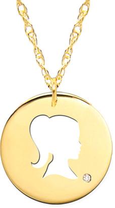 Jane Basch 14K Diamond Girl Silhouette Necklace