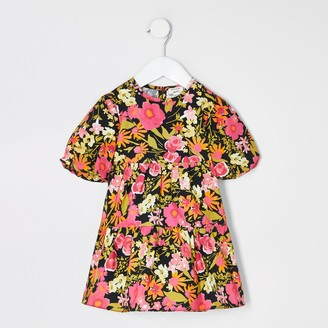 River Island Mini girls Black floral smock dress
