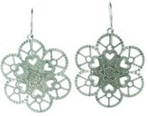 Pavel Steel Lace Snowflake Design Daisy Shaped Stainless Steel Dangle Earring with Hearts