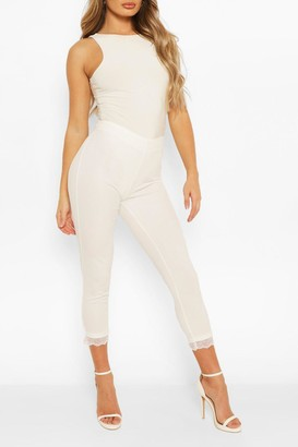 boohoo Lace Hem Dress Pants