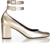 Saint Laurent Babies metallic-leather pumps