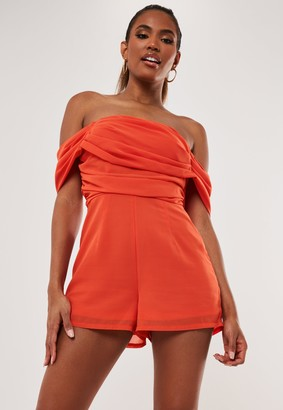Missguided Red Bardot Drape Ruched Playsuit
