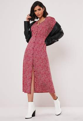 Missguided Burgundy Floral Button Down Midi Dress