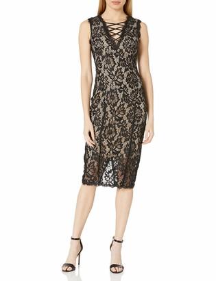 Betsy & Adam Women's Tie up Front Short Lace Dress