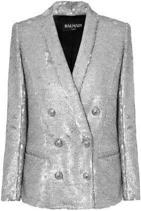 Balmain Double-breasted Matte Sequined Crepe Blazer