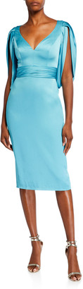 Theia V-Neck Cocoon-Sleeve Satin Dress
