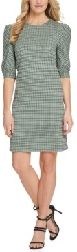 DKNY Printed Puff-Sleeve Sheath Dress