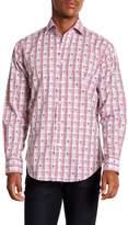 Thomas Dean Dotted Plaid Long Sleeve Sport Fit Shirt