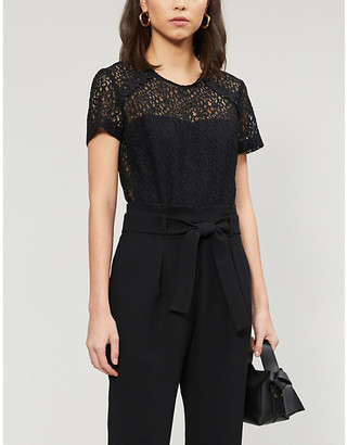 Claudie Pierlot Jeannee floral-lace and woven jumpsuit