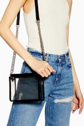 Topshop Womens Cami Clear Tpu Cross Body Bag - Black