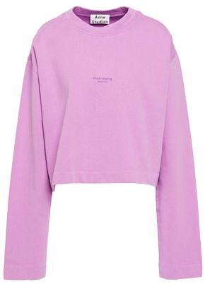 Acne Studios Cropped Printed French Cotton-terry Sweatshirt