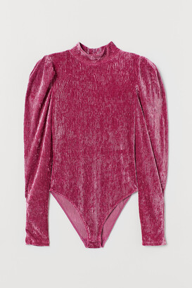 H&M Velour puff-sleeved body