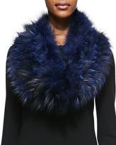 Gorski Layered Fox Fur Cowl Collar, Navy
