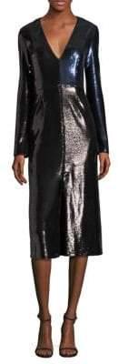 Diane von Furstenberg Paneled Metallic Sequined Dress