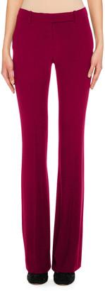 Alexander McQueen Flat-Front Boot-Cut Leaf Crepe Pants