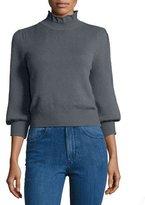 Co Peasant-Sleeve Ruffle-Neck Sweater