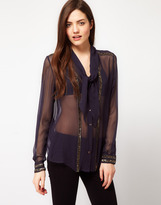 French Connection Bex Beaded Silk Shirt